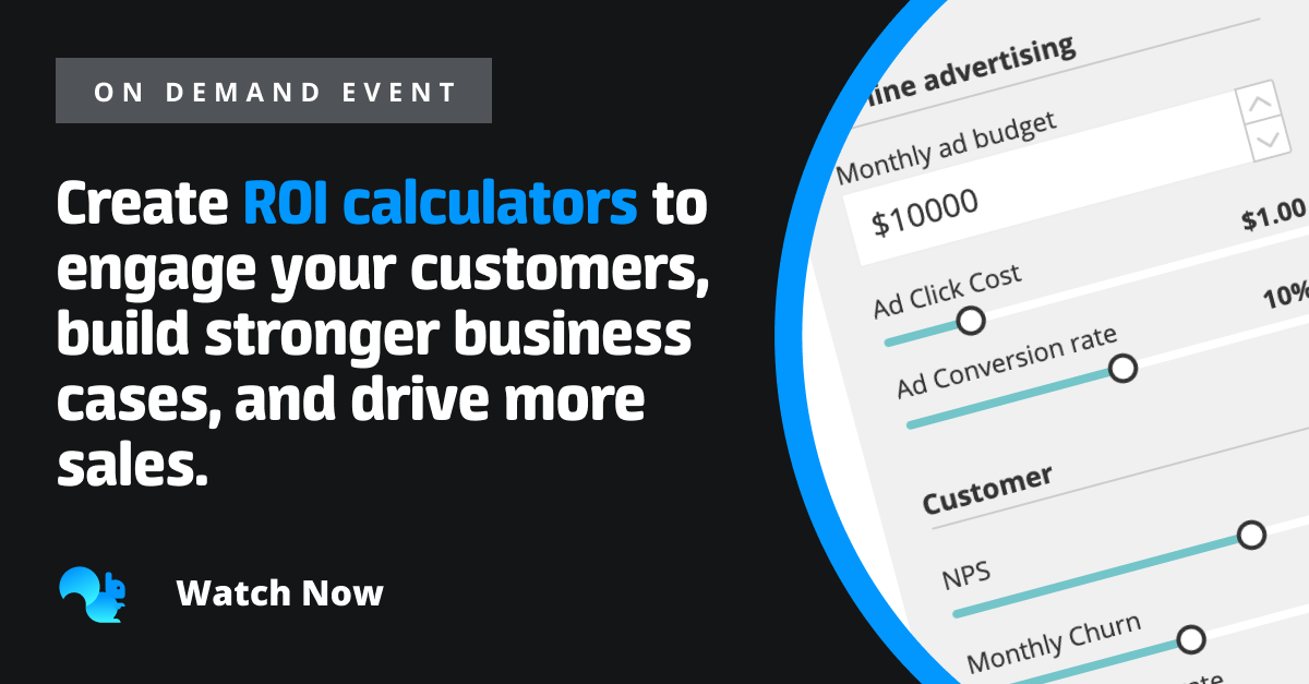 Squirrel365 event: How Salesforce help customers understand the ROI of their products with a value calculator, built in Squirrel.