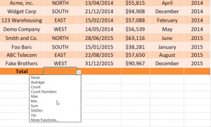 How to access formulas in Total Rows in Excel