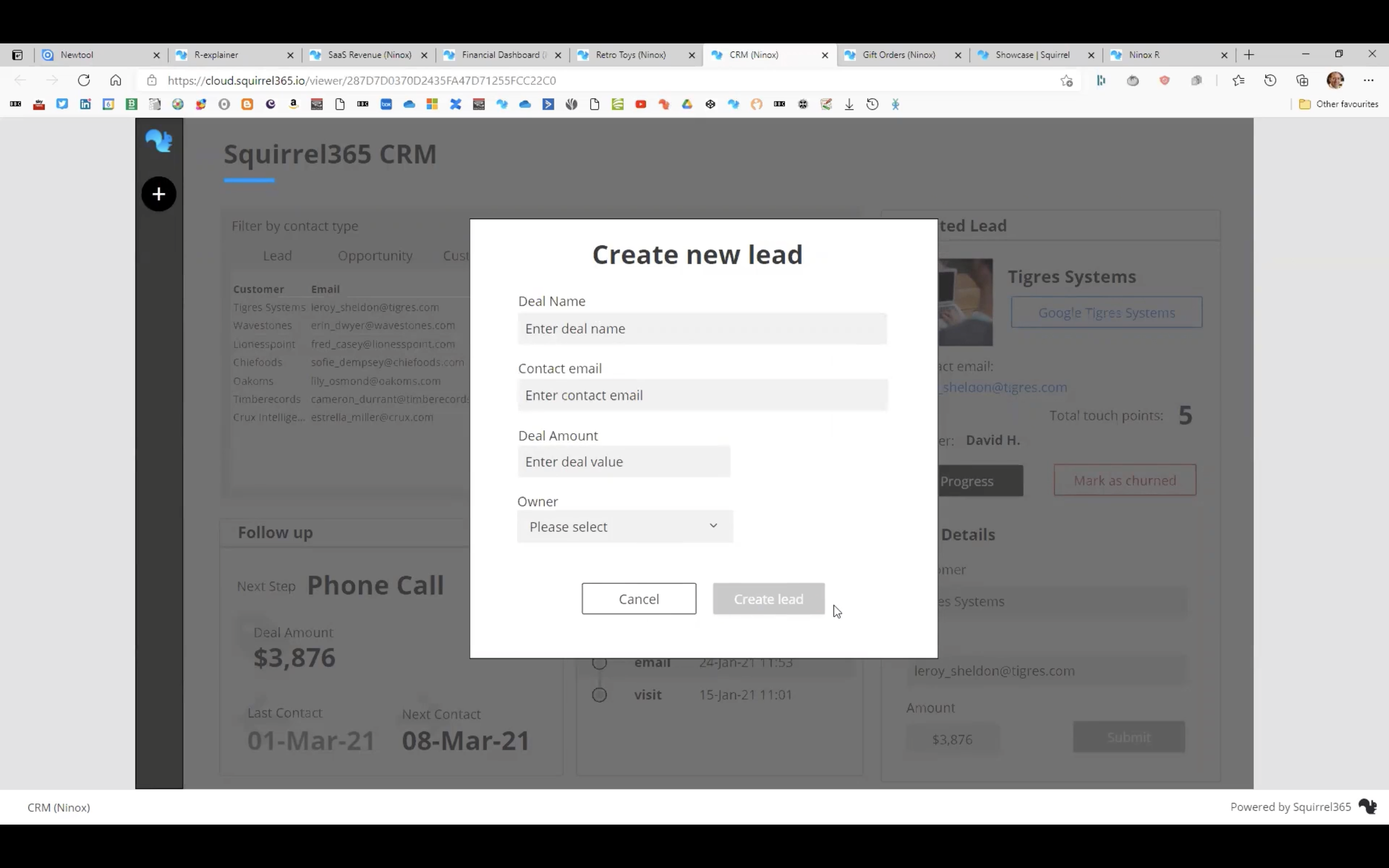 Creating a New Lead in Squirrel365 CRM project
