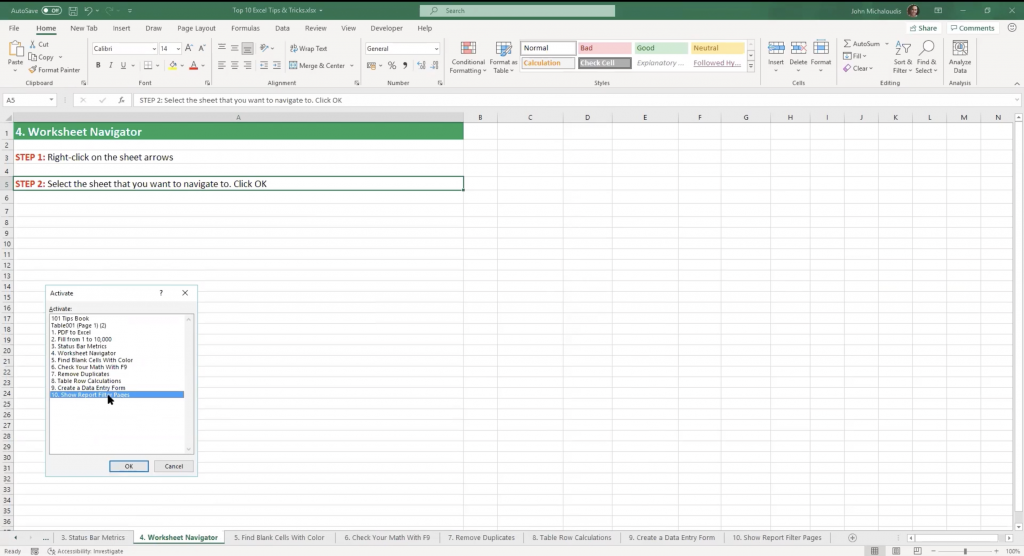 Excel's Activate box lets you view worksheets
