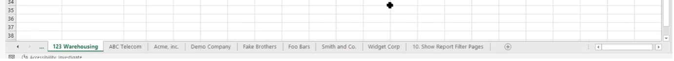 Set up individual customer tabs in Excel