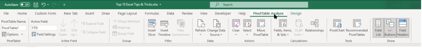 Pivot Table Analyse in Excel