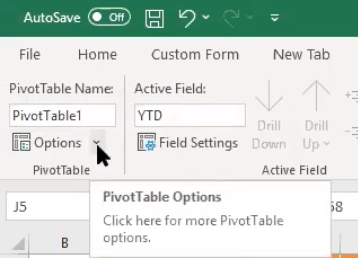 Using the Pivot Table Options drop-down