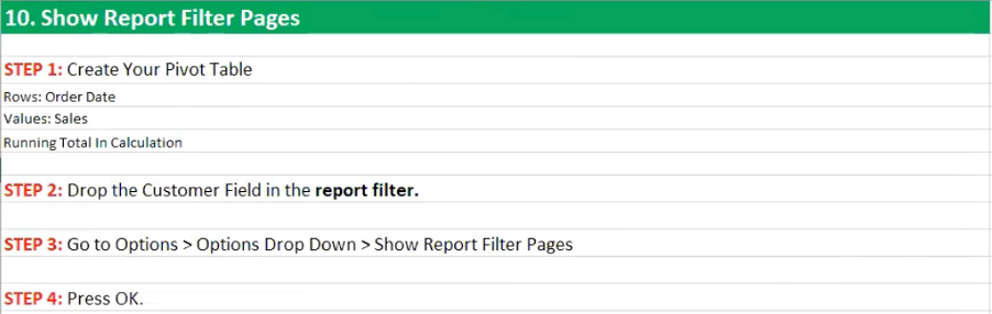 How to show report filter pages