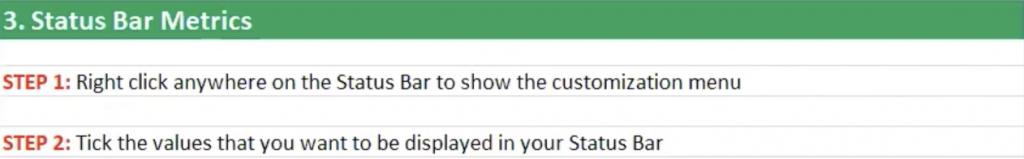 How to customise Status Bar metrics