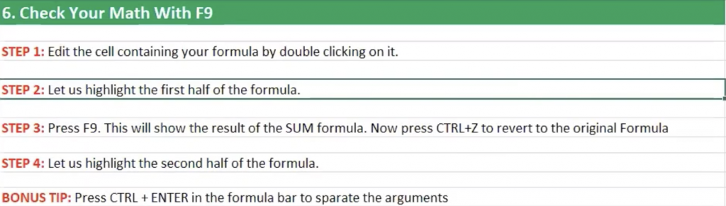 How to check your math with F9 in Excel