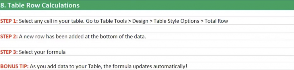 How to do table row calculations in Excel