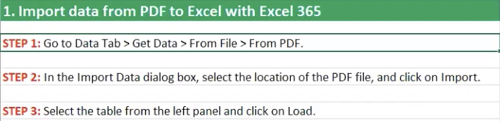 How to import data from PDF to Excel
