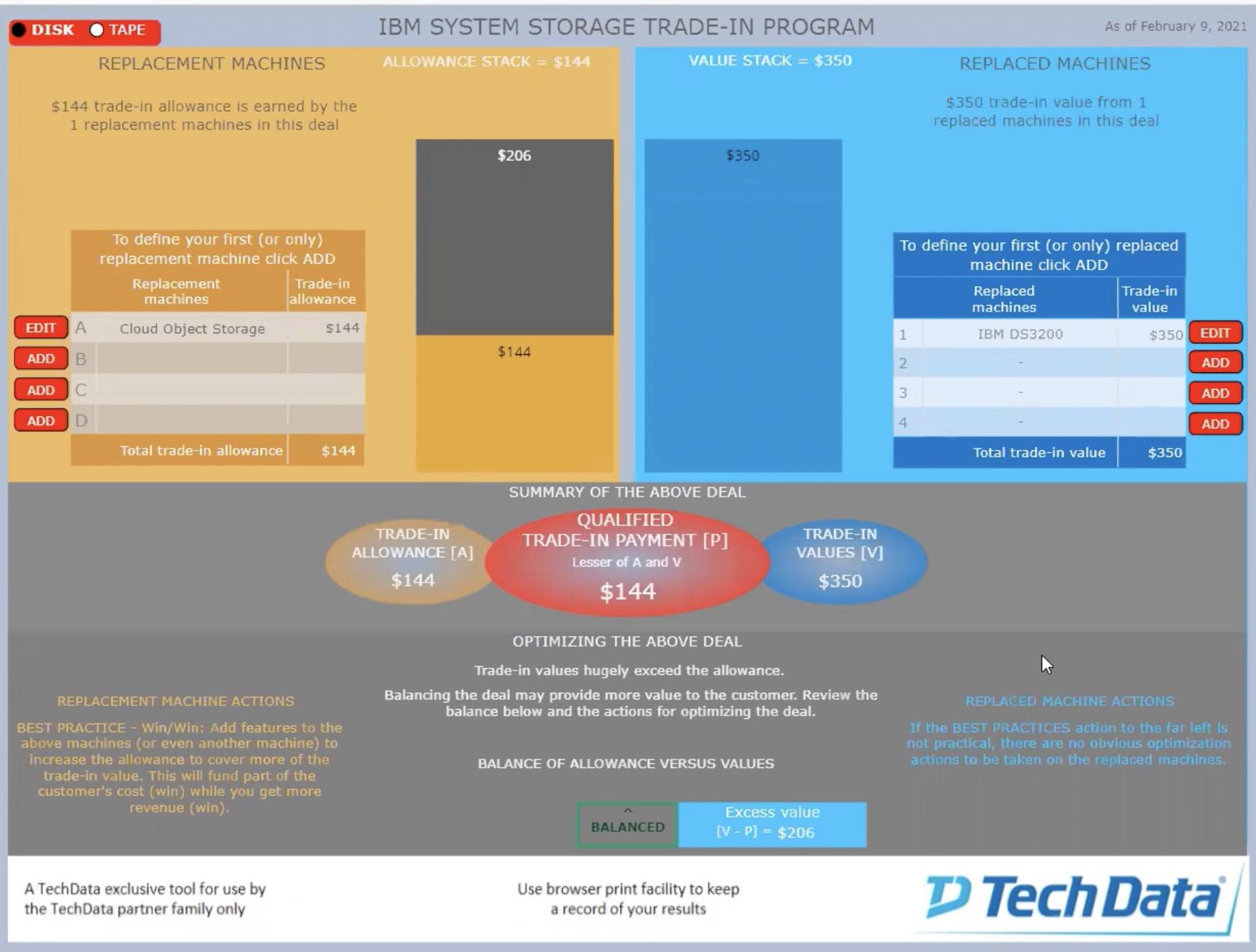 TechData trade-in calculator